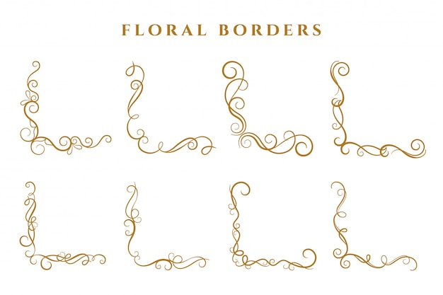 Floral corner borders frame collection ornamental