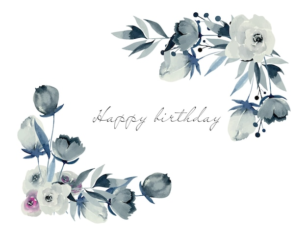 수채화 인디고 장미와 식물의 꽃 모서리 테두리, 손으로 그린 흰색 배경에