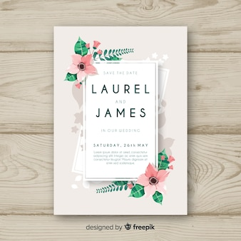 Floral corner wedding invitation template