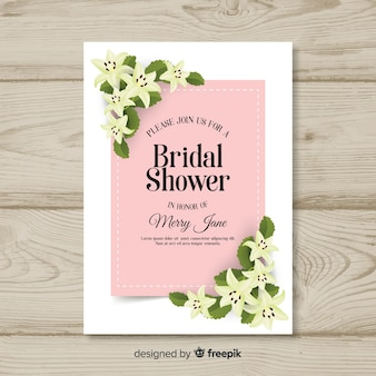 Floral corners bridal shower card template