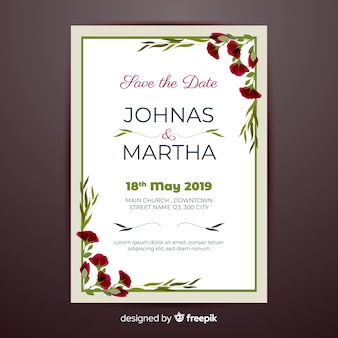 Floral corners wedding invitation template