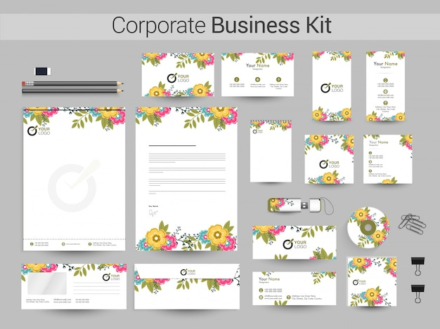 Floral corporate identity or business kit.