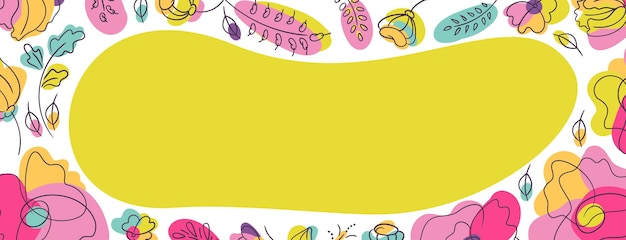 Floral cover web page background with neon green spot. flowerbed with bright neon colors. white backdrop