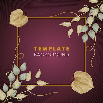 Floral creative design template background with golden lines