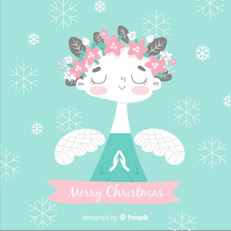 Floral crown christmas angel background