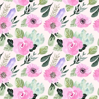 Floral and crystal watercolor seamless pattern