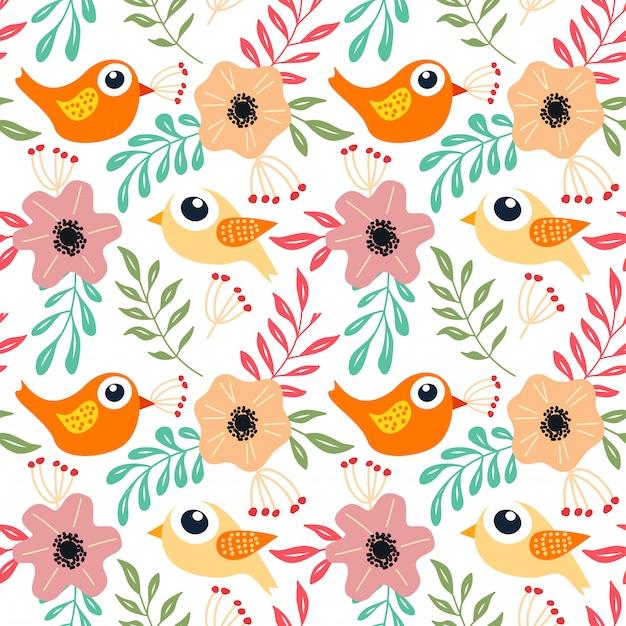 Цветочные милая птица бесшовные модели