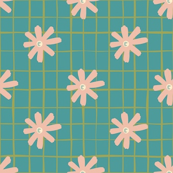 Floral daisy abstract seamless pattern. soft pink flowers shapes on turquoise background with check. perfect for wallpaper, wrapping paper, textile print, fabric.  illustration.