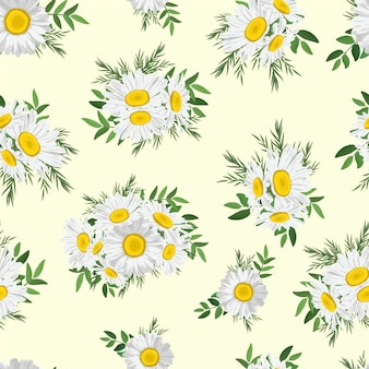 Floral daisy bouquet seamless pattern