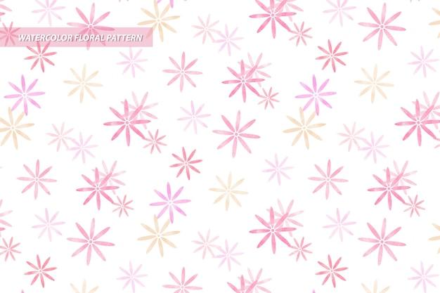 ピンク色の水彩風の花のデイジー シームレス パターン