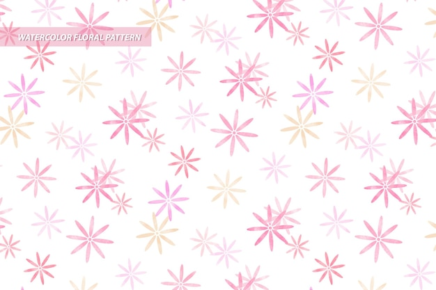 Modello senza cuciture floreale margherita in stile acquerello con colori rosa