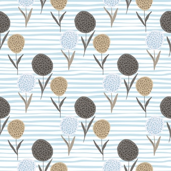 Цветочные силуэты одуванчика бесшовный образец. формы цветка бежевого и коричневого цвета на белом фоне с синими полосами.