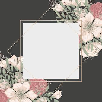 Цветочная темная рамка с красивыми цветами