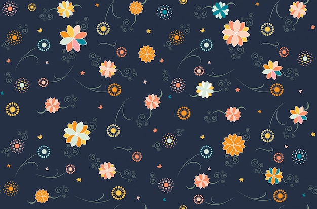 暗い花のシームレスなパターン
