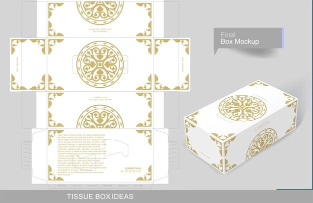 ティッシュボックステンプレートの花の装飾が施された金色の要素