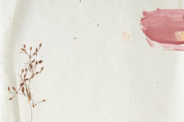 ベージュの背景にピンクのブッシュストロークで飾られた花