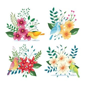 꽃 장식 및 조류 빈티지 스타일 벡터 일러스트 디자인