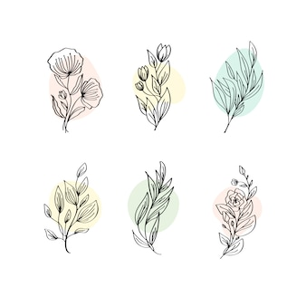 Floral decoration branch leaf plant line stroke icon pictogram symbol set collection