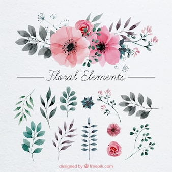 Floral decoration painted with watercolor