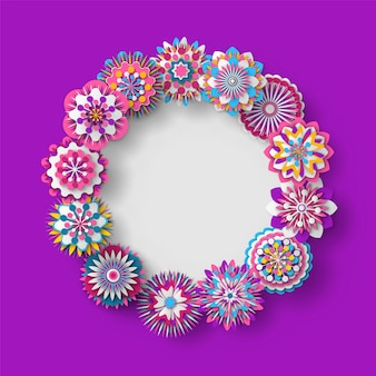 Floral decoration rounded shape of frame banner