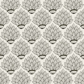 Floral decoration seamless pattern