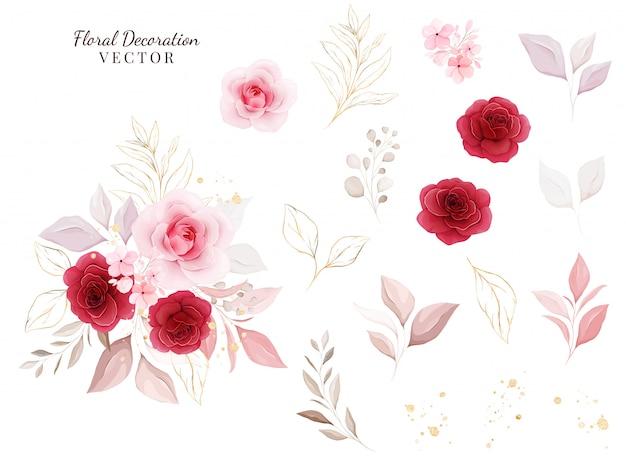 Набор цветочных декораций. ботаническая иллюстрация красных и персиковых роз с листьями, ветви.