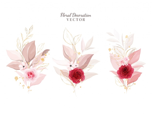 Floral decoration   set. botanic illustration of red and peach roses with leaves, branch.