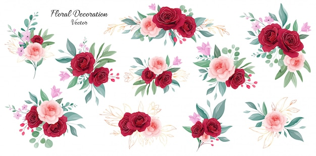 Floral decoration set of peach and burgundy rose flowers, branches, and outlined gold leaves