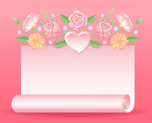 Floral decoration with heart and paper decoration good use for valentine's or wedding day event