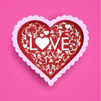 Цветочные украшения формируют сердце и любовь. дизайн бумаги искусства