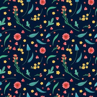 꽃 장식 배경. 피는 초원 식물. 꽃 꽃과 나뭇잎 평면 복고 완벽 한 패턴입니다. 진한 파란색 배경에 추상 야생화입니다.