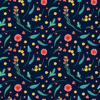 Floral decorative backdrop. blooming meadow plants. flowers blossoms and leaves flat retro seamless pattern. abstract wildflowers on dark blue background.