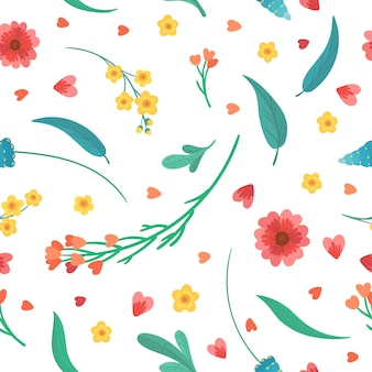 Floral decorative backdrop. flowers blossoms and leaves flat   retro seamless pattern. abstract wildflowers on white background.blooming meadow plants. vintage textile, fabric, wallpaper design