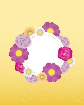 サークルフレームと花の装飾的なカードテンプレート