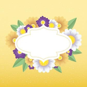 エレガントなフレームと花の装飾的なカードテンプレート