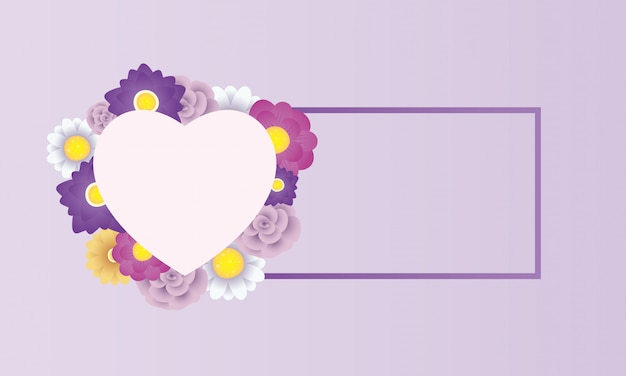 ハートフレームと花の装飾的なカードテンプレート