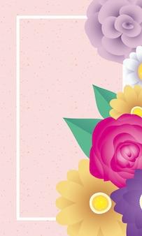 正方形のフレームと花の装飾的なカードテンプレート