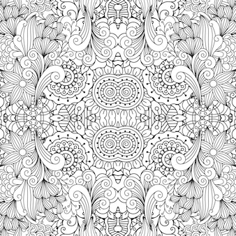Floral decorative doodle linear pattern