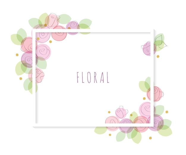 Floral decorative frame template.