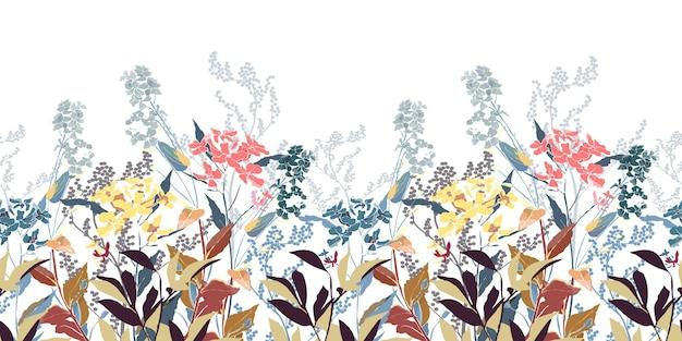 白い背景で隔離の花の装飾的なシームレスパターン