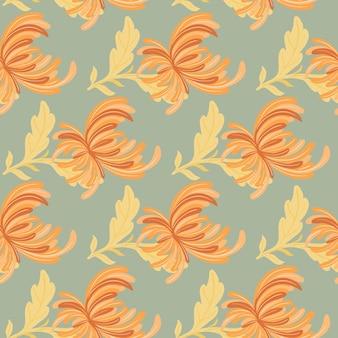 オレンジ色の菊の花の形をした花の装飾的なシームレスパターン。青い背景。テキスタイル、ファブリック、ギフトラップ、壁紙のフラットベクタープリント。無限のイラスト。