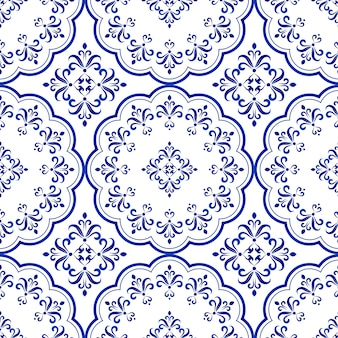 Floral decorative tile design, seamless blue and white ceramic pattern