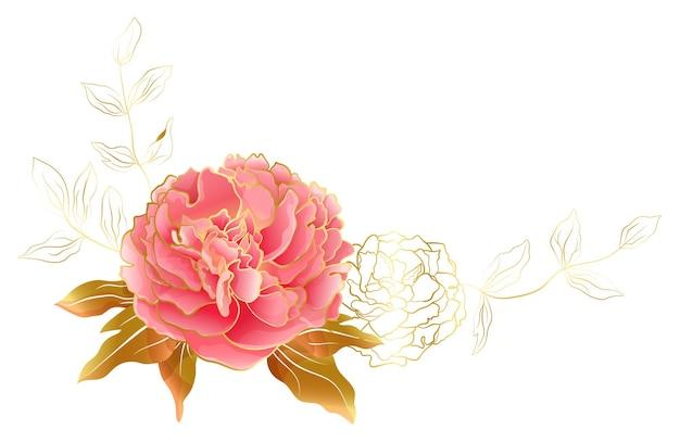 ピンクとゴールドの牡丹の花と花の装飾的なビネット。結婚式やロマンチックなお祝いのための、化粧品や香水のデザインのための植物の優雅な装飾