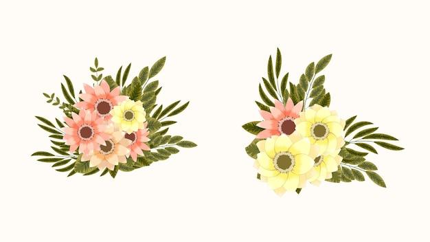 웹 소셜 미디어 결혼식 인사말 카드 꽃 덩굴의 꽃 디자인 배열 프레임