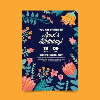 花柄の誕生日カードテンプレート