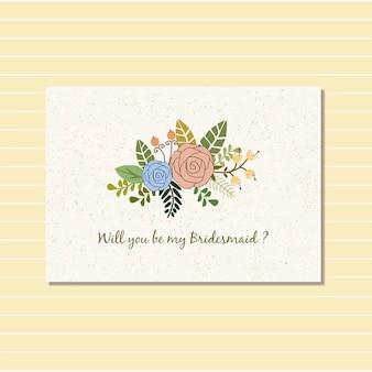 Floral design for bride card invitation