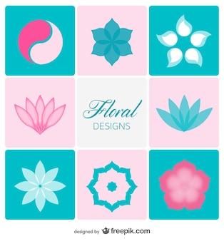 Floral design elements in soft colors