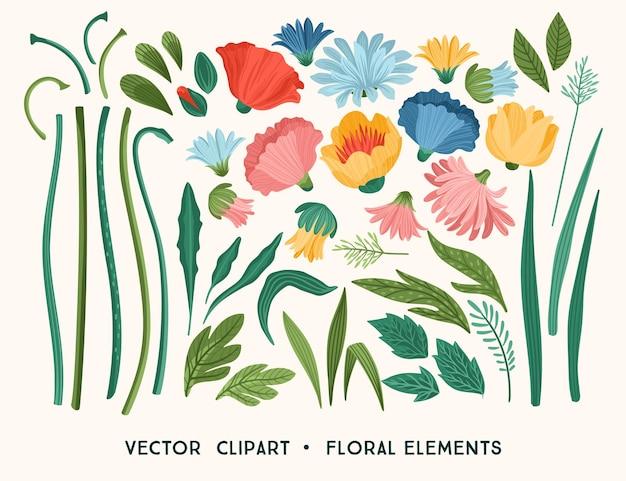 플로랄 디자인 요소. 잎, 꽃, 잔디 가지