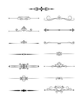 Винтажные разделители элементов цветочного дизайна в черном цвете. оформление страницы. векторная иллюстрация. изолированные
