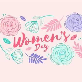 여성의 날 행사를위한 꽃 무늬 디자인 무료 벡터